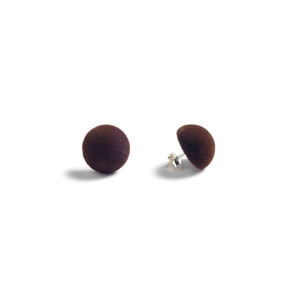 "Plüsch Ball Earrings ""Dark Chocolate"" XS"