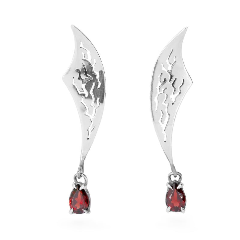 "Earrings ""FLashbacks"" with Garnets"