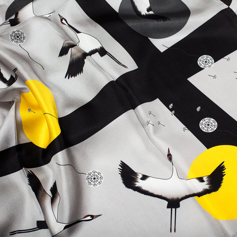 "Silk Scarf 90*90 ""Crane Birds"""