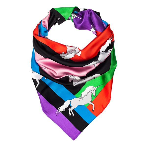 "Silk Scarf 90*90 ""Unicorns"""