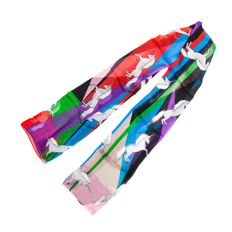 "Silk Chiffon Scarf 65*180 ""Unicorns"""