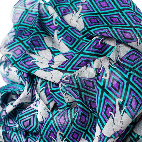 "Silk Chiffon Scarf 65*180 ""Elephants"""