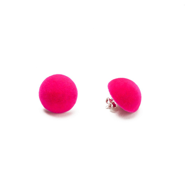 "Plüsch Ball Earrings ""Neon Pink"" S"