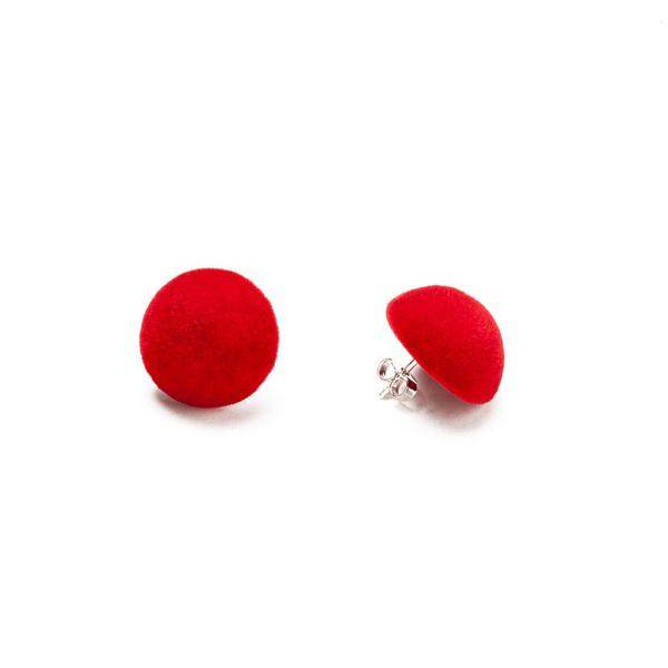 "Plüsch Ball Earrings ""Red Lipstick"" S"