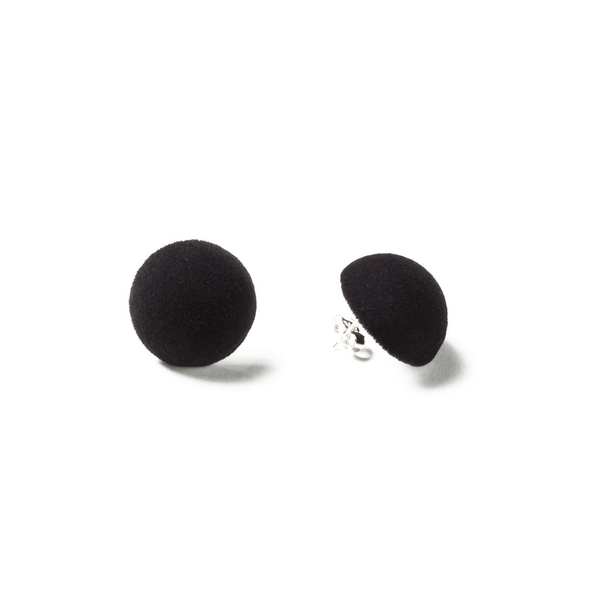 "Plüsch Ball Earrings ""Deep Black"" S"