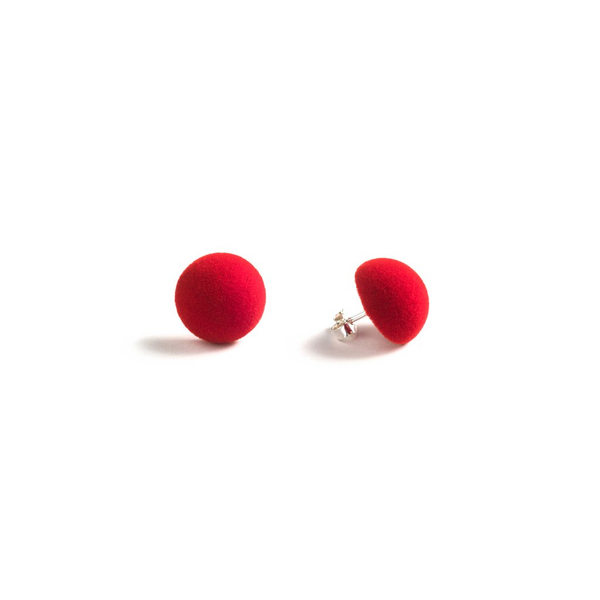 "Plüsch Ball Earrings ""Red Lipstick"" XS"