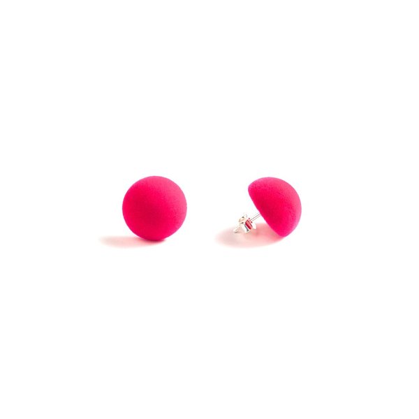 "Plüsch Ball Earrings ""Neon Pink"" XS"