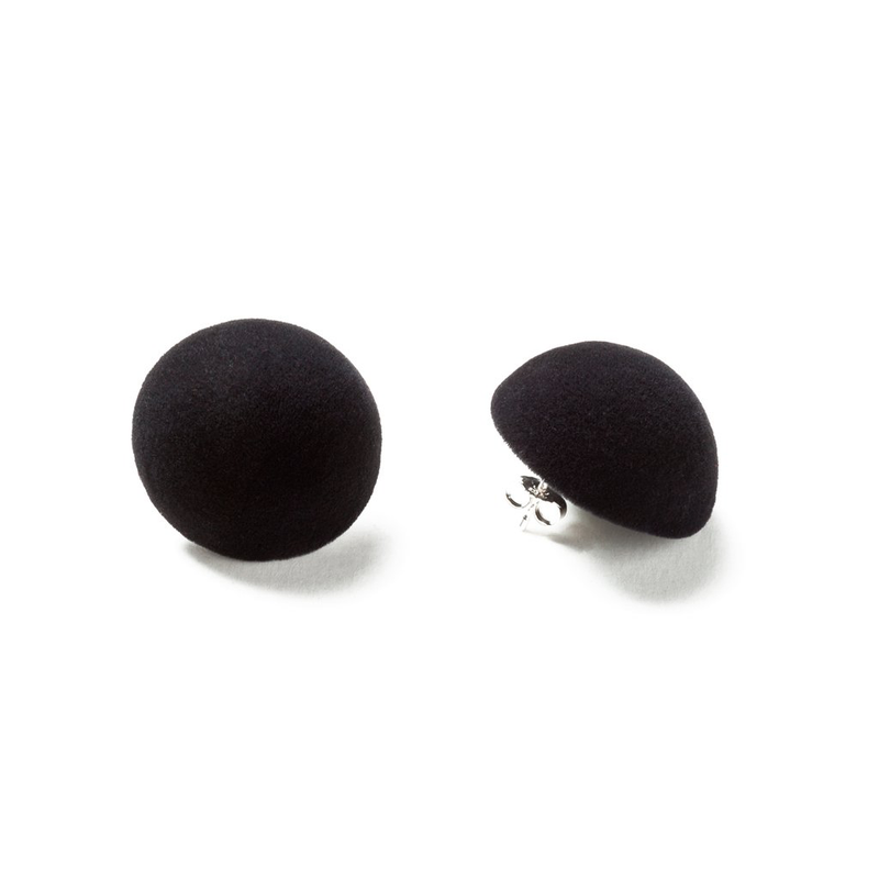 "Plüsch Ball Earrings ""Deep Black"" M"