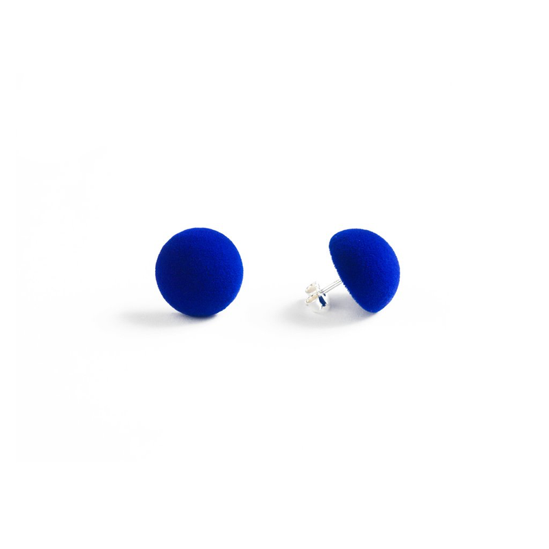 "Plüsch Ball Earrings ""Electric Blue"" XS"