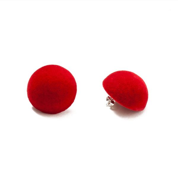 "Plüsch Ball Earrings ""Red Lipstick"" M"
