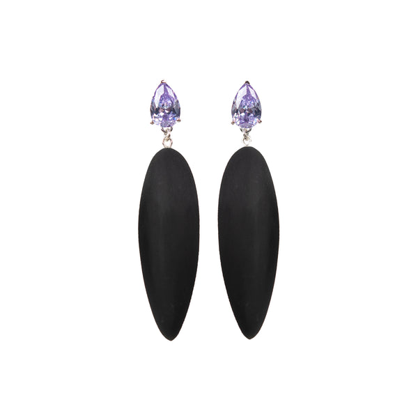 "Nymphe Earrings ""Black"" with cubic zirconia"