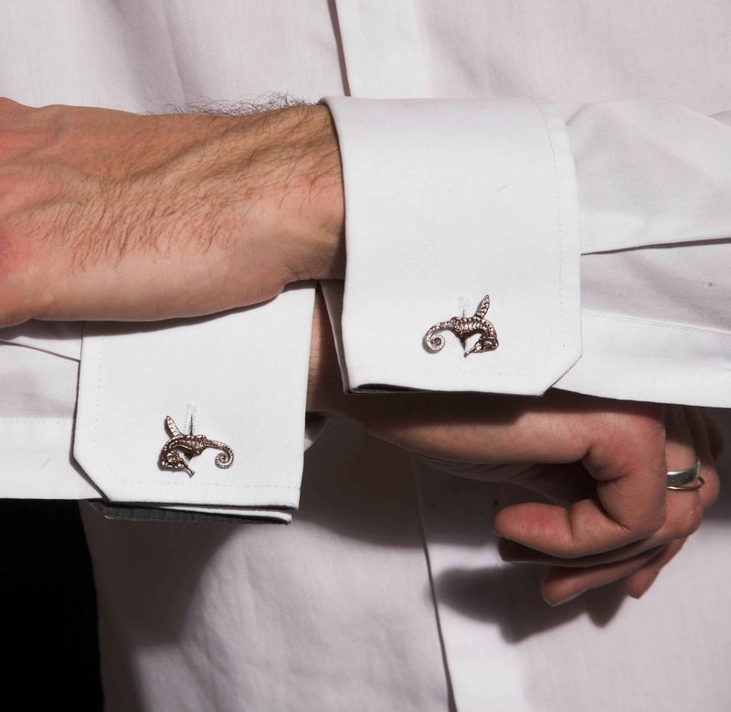 "HIPPO COUTURE Cufflinks ""Hippocamp Gold"""