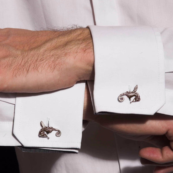 "HIPPO COUTURE Cufflinks ""Hippocamp Dark"""