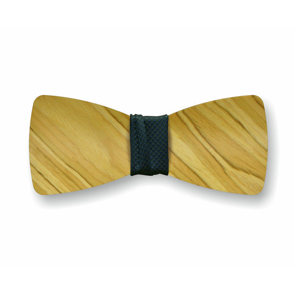 "Wooden Bow Tie ""Olive+Black"""