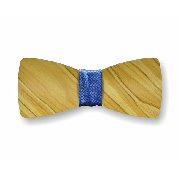 "Wooden Bow Tie ""Olive+Blue"""