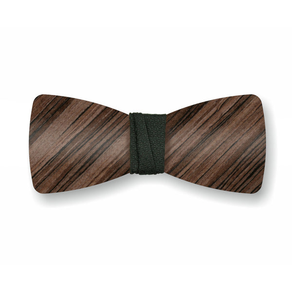 "Wooden Bow Tie ""Dark Olive+Black"""