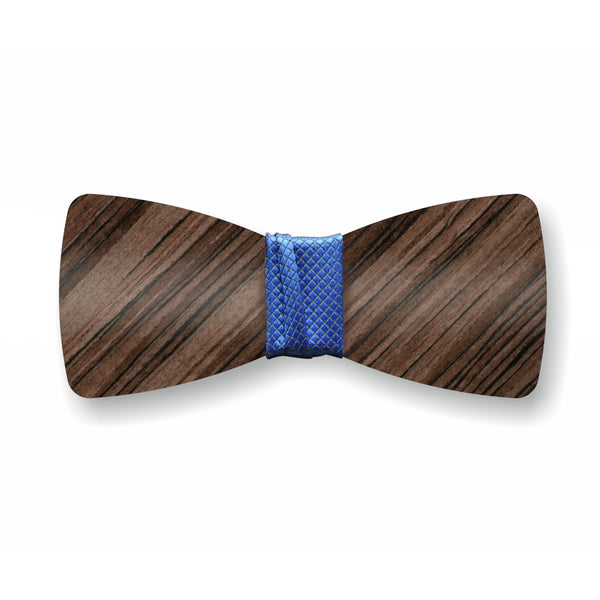 "Wooden Bow Tie ""Dark Olive+Blue"""