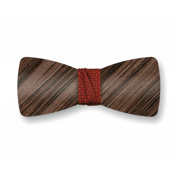 "Wooden Bow Tie ""Dark Olive+Red"""