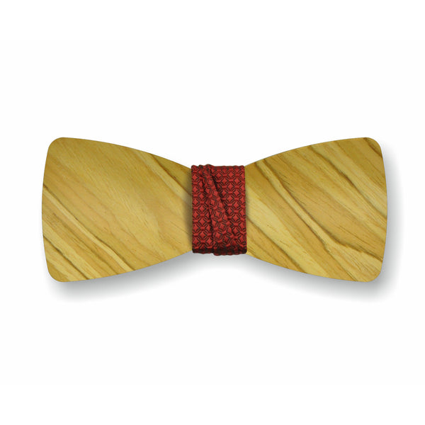"Wooden Bow Tie ""Olive+Red"""
