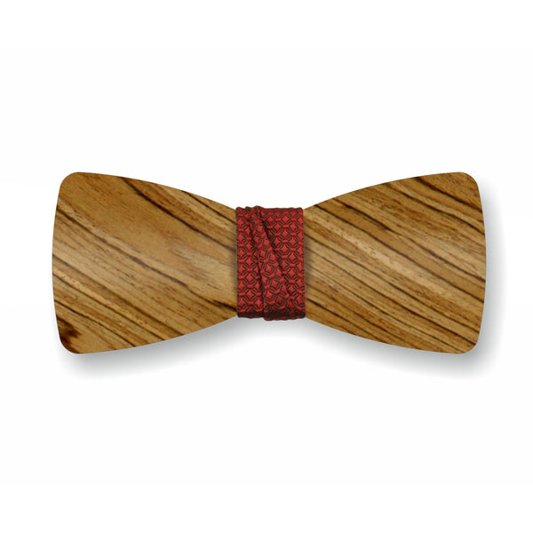 "Wooden Bow Tie ""Smoked+Red"""
