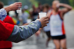 Water stop for marathon runners