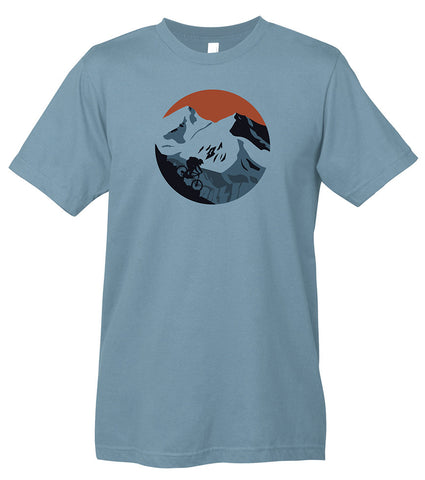 A blue t-shirt with a screen printed graphic of a mountain biker descending a mountain.