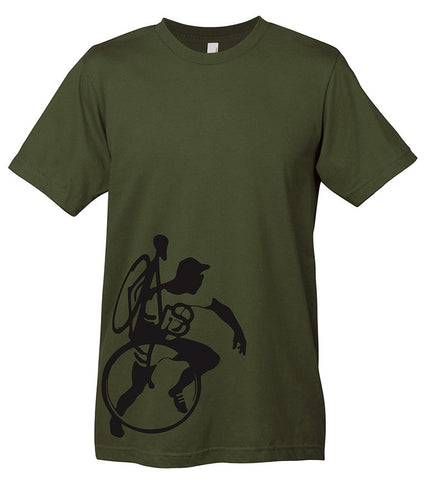 A dark green t-shirt with a graphic of a cyclocross racer caring a bike.