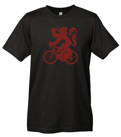 Black t-shirt with a deep red graphic of the Tour of Flanders lion riding a bike.