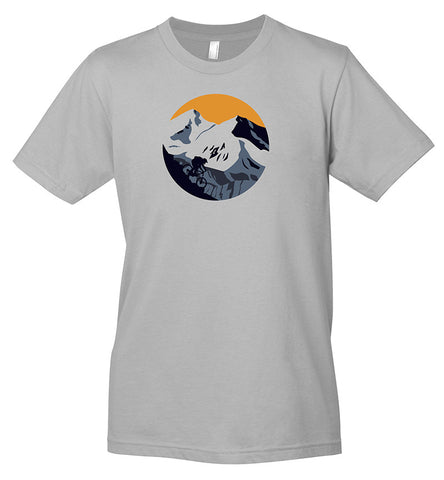 A gray t-shirt with a graphic of a mountain biker descending down a mountain