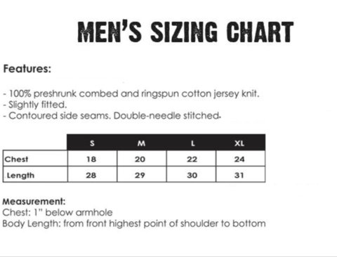 Mechanical Threads bike t-shirt size chart