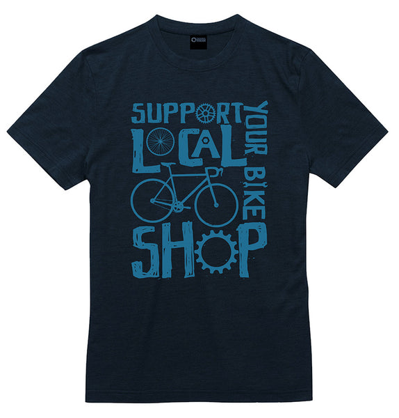 "Black Merino T-shirt with a graphic that reads ""Support your local bike shop"" printed in blue."