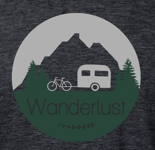 A close up of the screen printed graphic of a bicycle pulling a camper printed on a heather gray bike t-shirt.