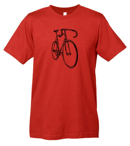A red t-shirt with bicycle graphic.