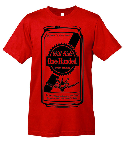 "A red t-shirt with a beer can graphic that reads ""Dedicated Cyclocross Racers. Will Ride One-Handed for Beer. Occasionally sacrificing second hand for bacon, whisky and dollar bills."""
