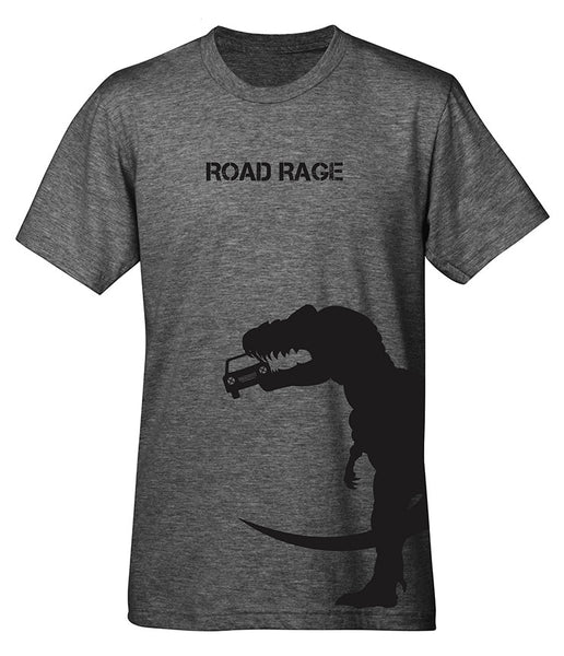 "A heather gray t-shirt with a graphic of a T-Rex eating a car. The text reads ""Road Rage""."