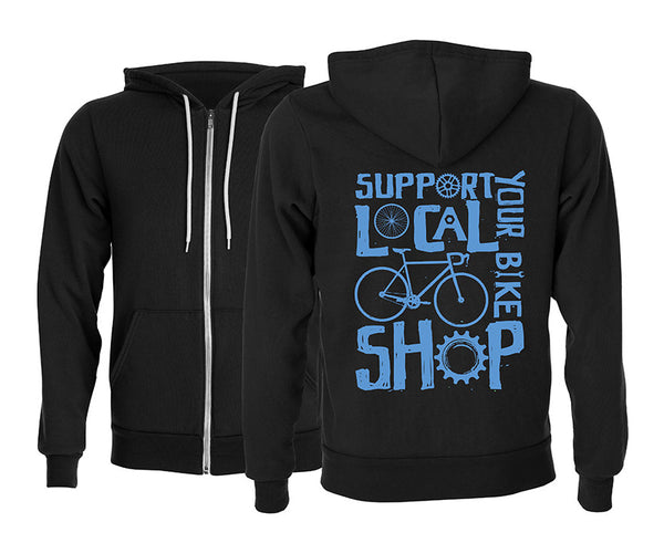 Front and back of a black hoodie. Support your local bike shop graphic is printed in blue on the back of the hoodie.