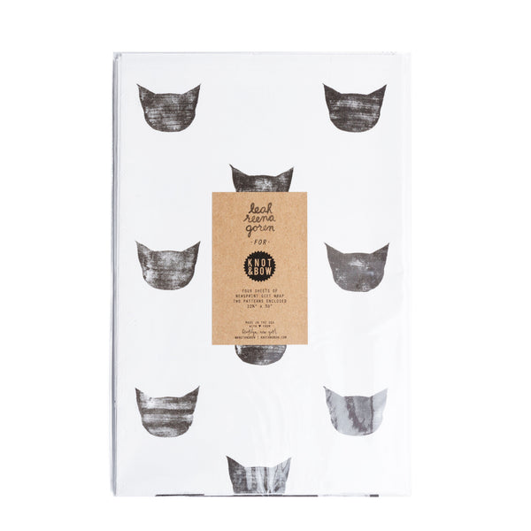 BLACK AND WHITE CATS NEWSPRINT GIFT WRAP