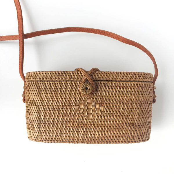 BUCKET WOVEN BAG - WOOD/GREY