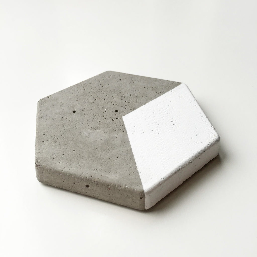 CONCRETE HEXAGON COASTERS - WHITE