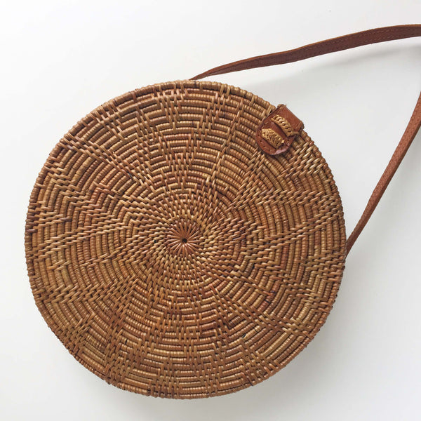 ROUND WOVEN BAG - FLOWER