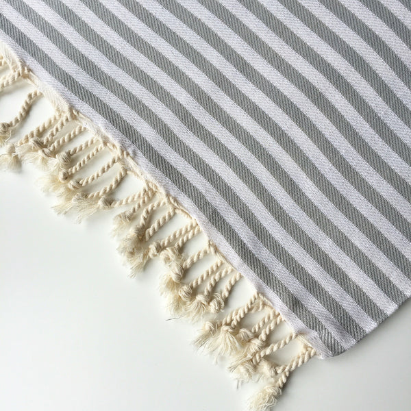 STRIPED HAMMAM TOWEL - DARK GREY/CREAM