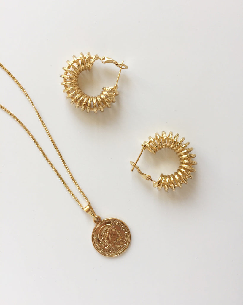SPIRAL HOOP EARRINGS + MINI COIN NECKLACE - RELIQUIA