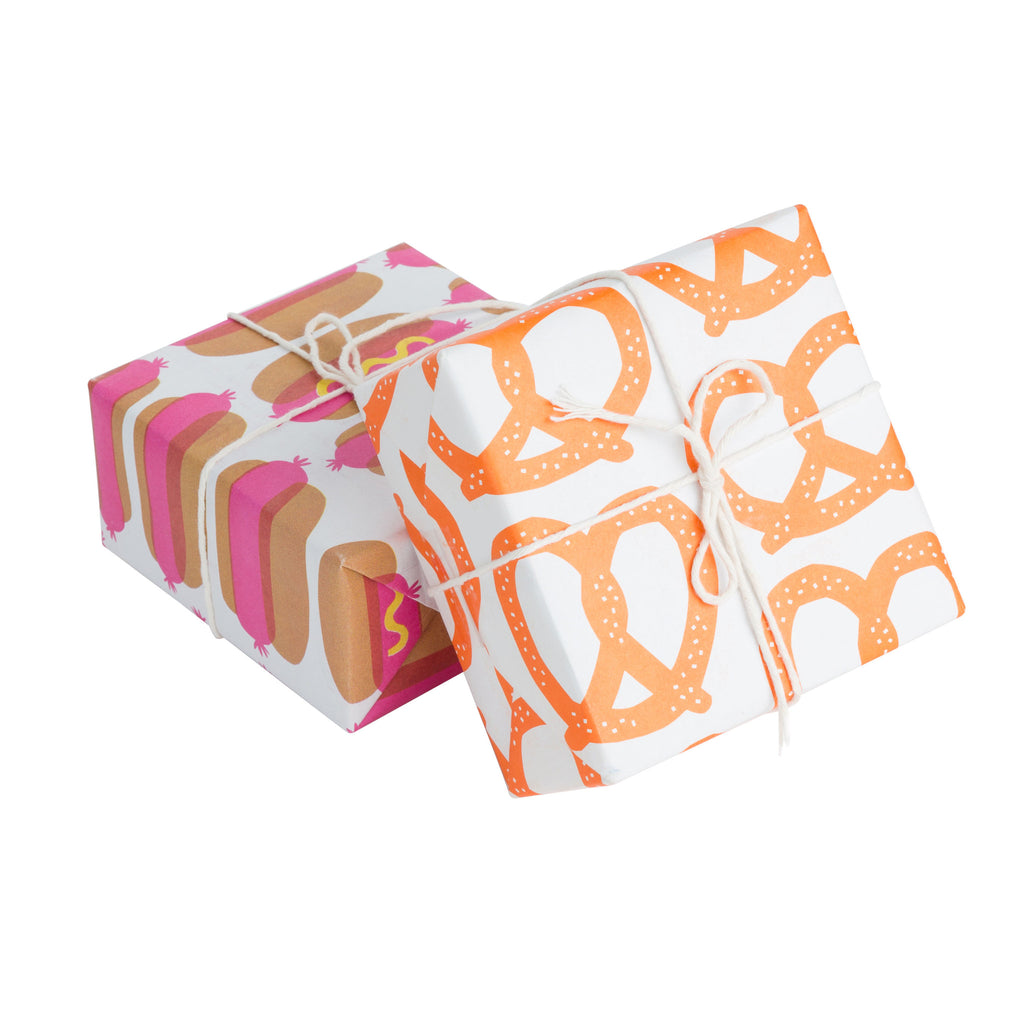 HOTDOGS + PRETZELS NEWSPRINT GIFT WRAP