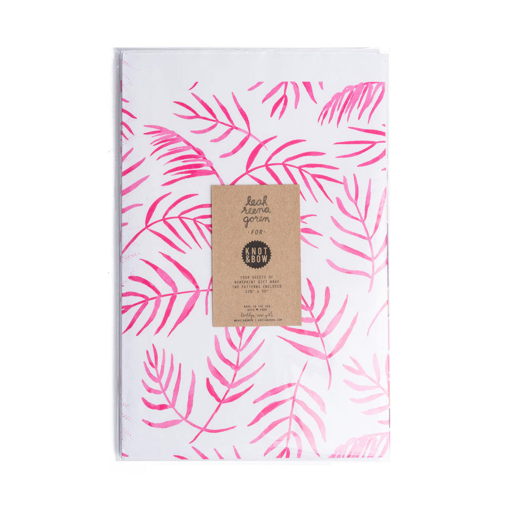 PINK FERN NEWSPRINT GIFT WRAP