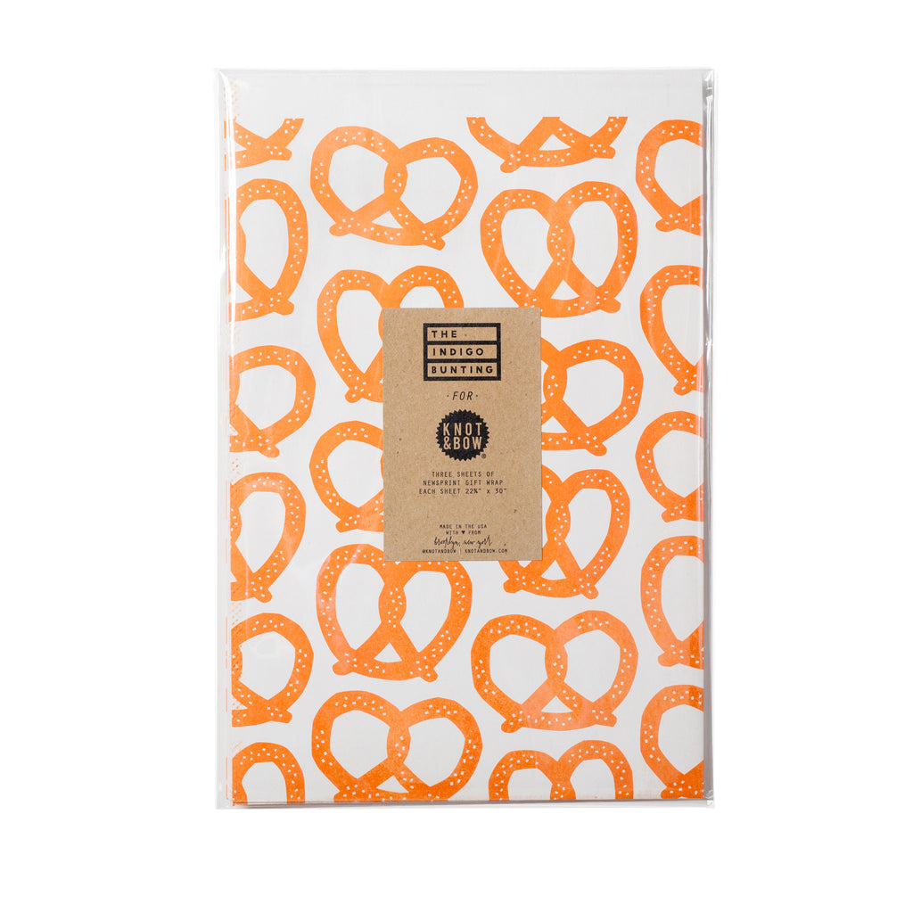 PRETZELS NEWSPRINT GIFT WRAP
