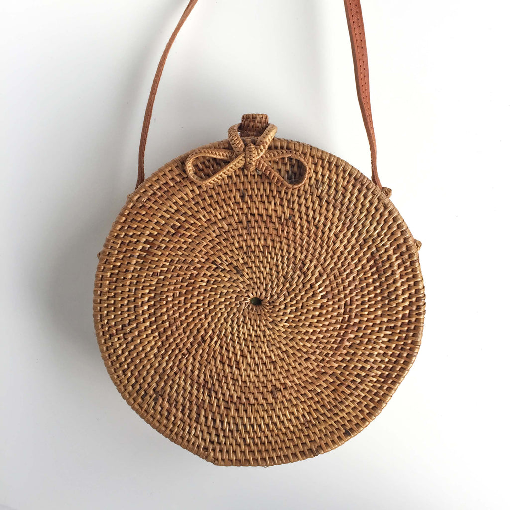 ROUND WOVEN BAG - BOW