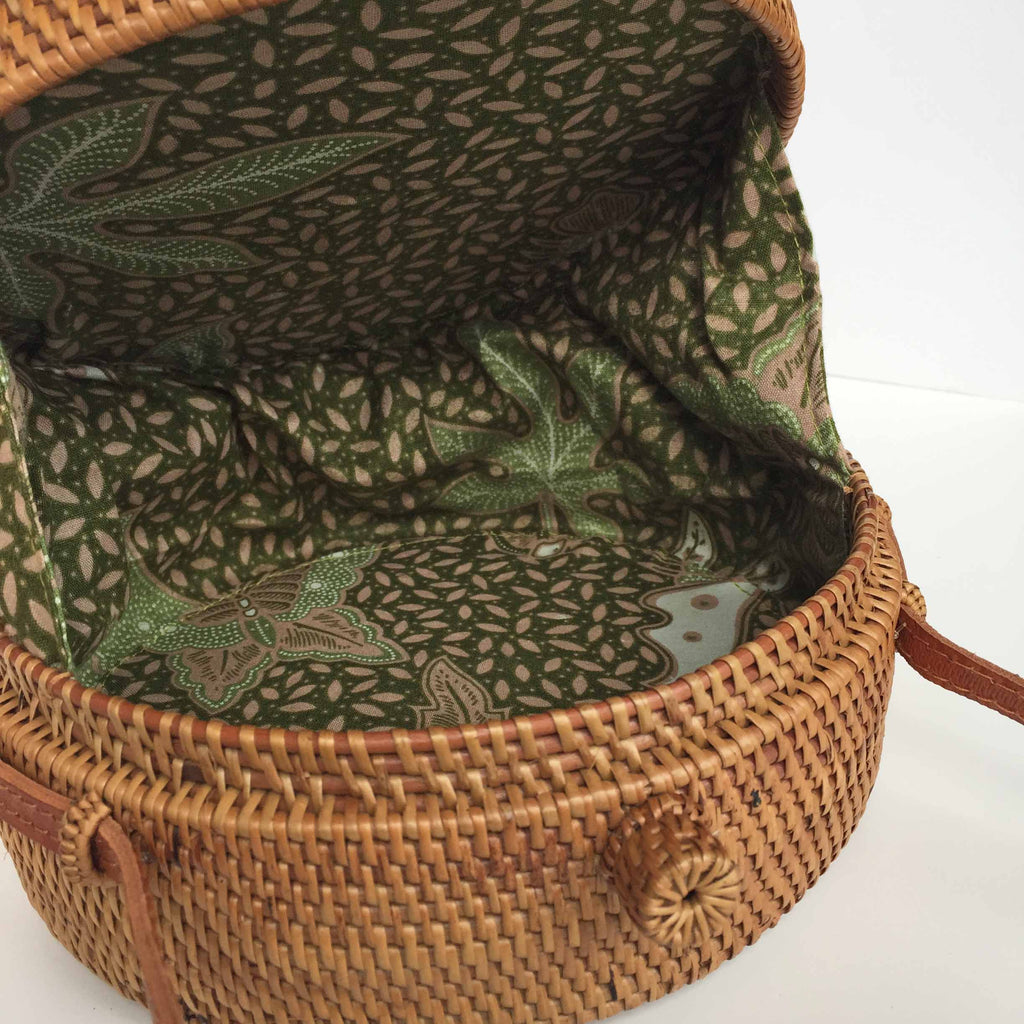 ROUND WOVEN BAG - BOW, LINING