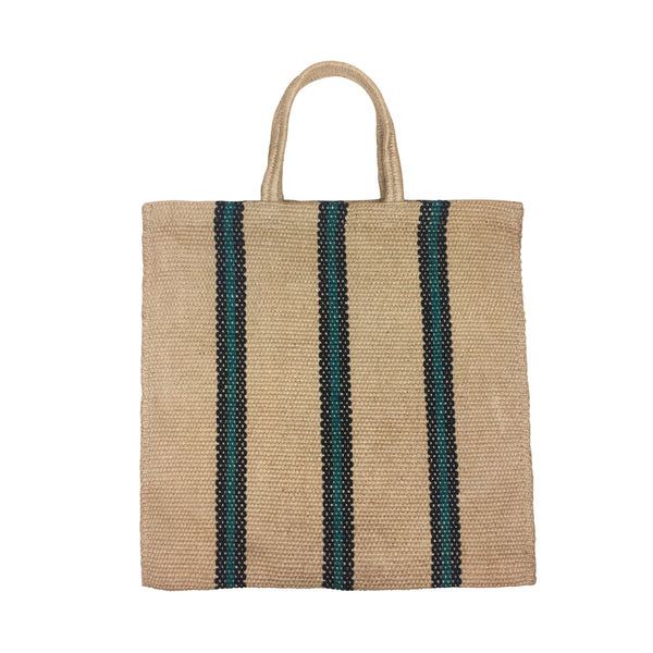 STRIPED TOTE - GREEN -TURTLE BAGS