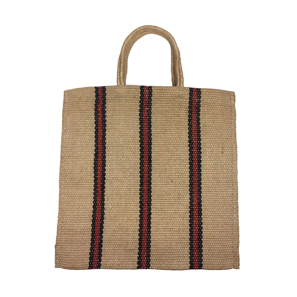 STRIPED TOTE - RED - TURTLE BAGS