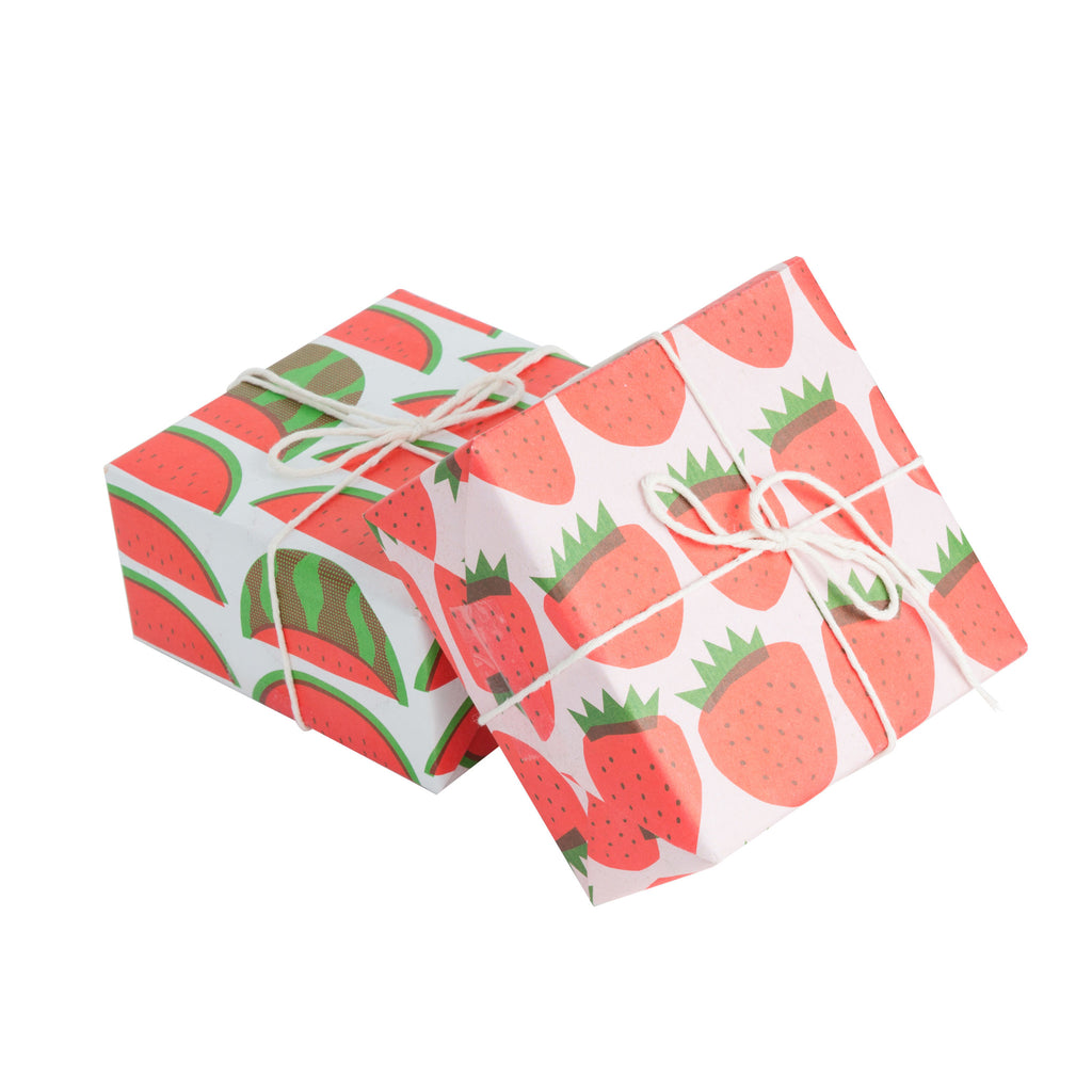 STRAWBERRIES NEWSPRINT GIFT WRAP